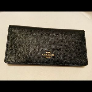 NWT Coach Crossgrain Leather Bifold Wallet Black